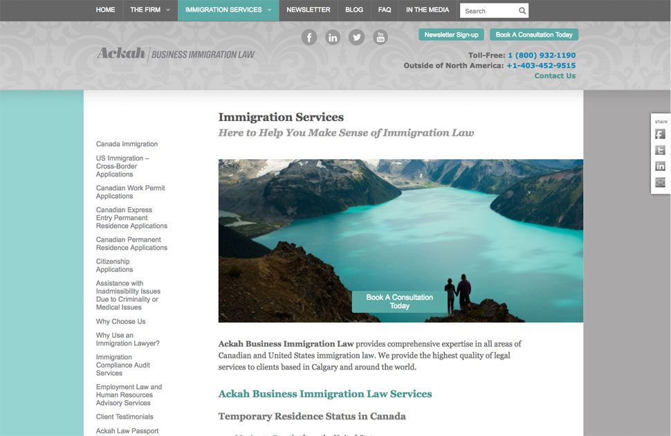 Ackah Business Immigration Law section page
